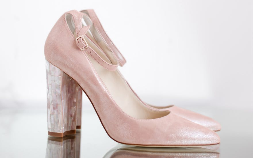Pink Wedding Heels with Ankle Strap by Freya Rose