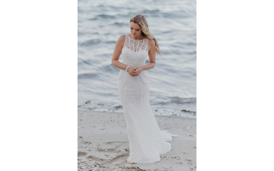 High Neck Lace Wedding Dress by Wendy Makin