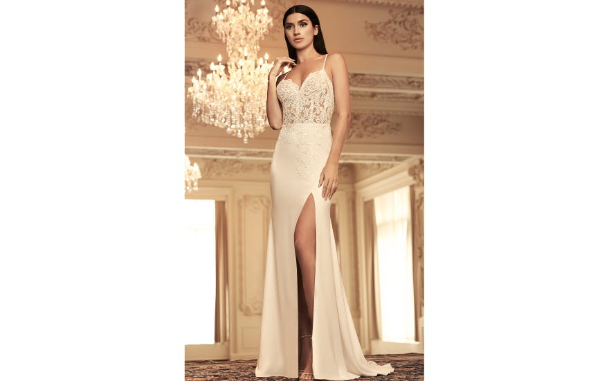 Slinky Wedding Dress with Thigh Split by Paloma Blanca