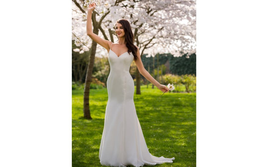 Simple Strappy Wedding Dress by Direct Eastern