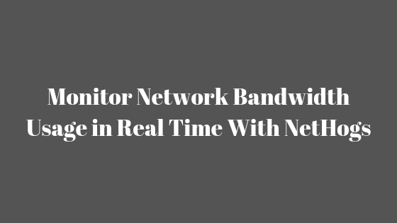 Monitor Network Bandwidth Usage in Real Time With NetHogs