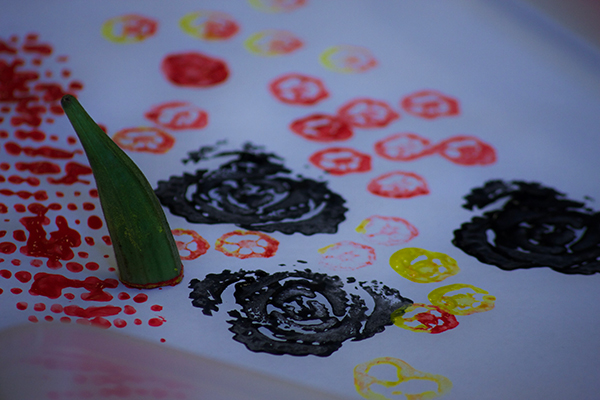 The Magpie Project's artist gives children the chance to get creative with cucumbers and paint
