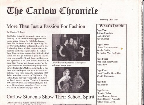 Jones, C. (2011) More than Just a Passion for Fashion. The Carlow Chronicle