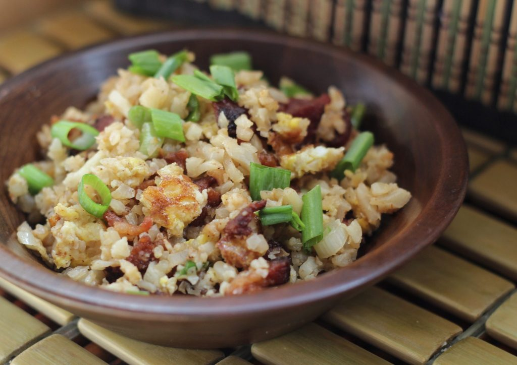 Add onions, bacon and other seasonings and sauces. Cook for another 1-2 minutes. Serve hot. This dish goes well with my Chinese Ketchup Chicken.
