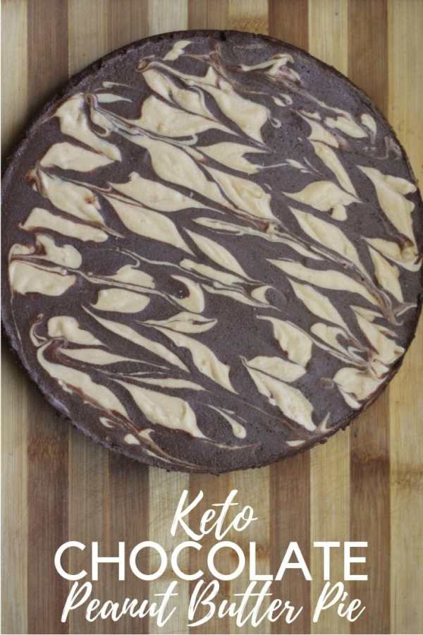 A Keto chocolate Peanut Butter marbled pie.