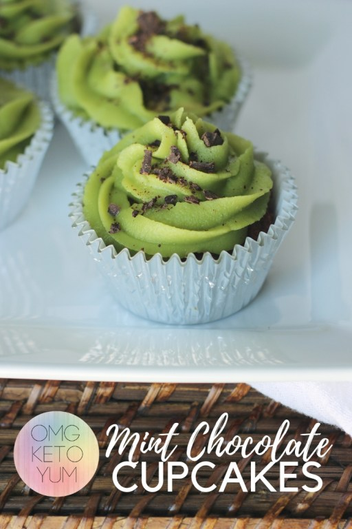 Mint Chocolate Cupcakes that are low carb and dairy free. Make these amazing cupcakes to celebrate St. Patrick's day or any other day you want a low carb treat.
