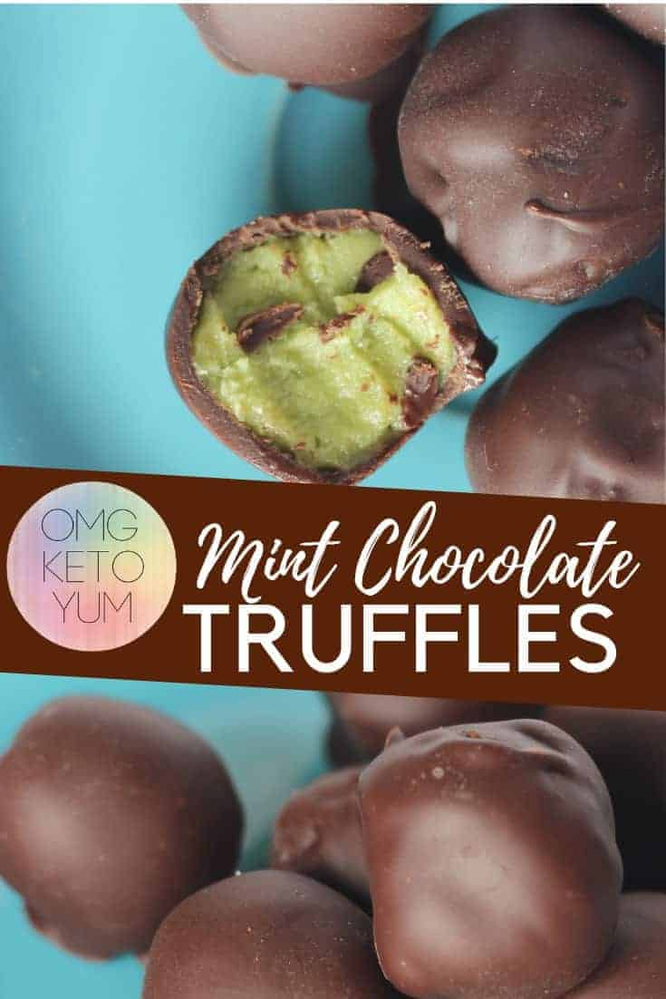Mint Chocolate Keto Truffles with a secret ingredient. Make some easy Dairy Free, Sugar Free truffles without any food coloring needed!