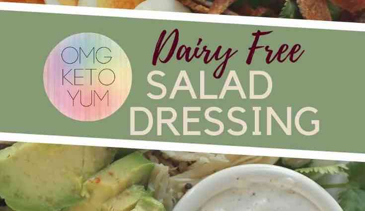 Keto Salad Dressing sitting in a bowl with a low carb Cobb salad surrounding it.