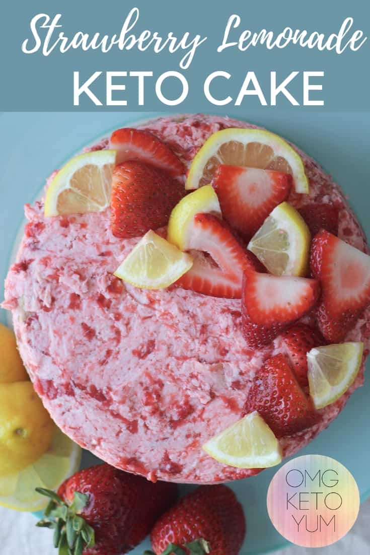 This low carb Strawberry Lemonade Cake tastes like summer. Enjoy a low carb dessert that is dairy free, sugar free and coconut free!