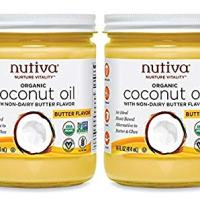 Nutiva Organic Coconut Oil with Butter Flavor from non-GMO, Steam Refined, Sustainably Farmed Coconuts, 14-ounce (Pack of 2)