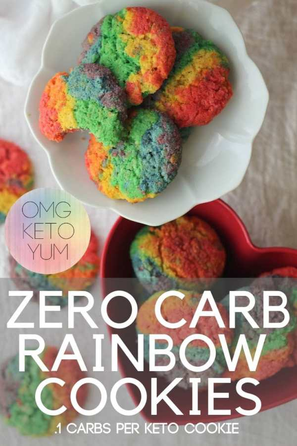 Zero Carb Cookies that are not only Rainbow but only .1 carbs per cookie! Yummy and keto and made with simple ingredients too!