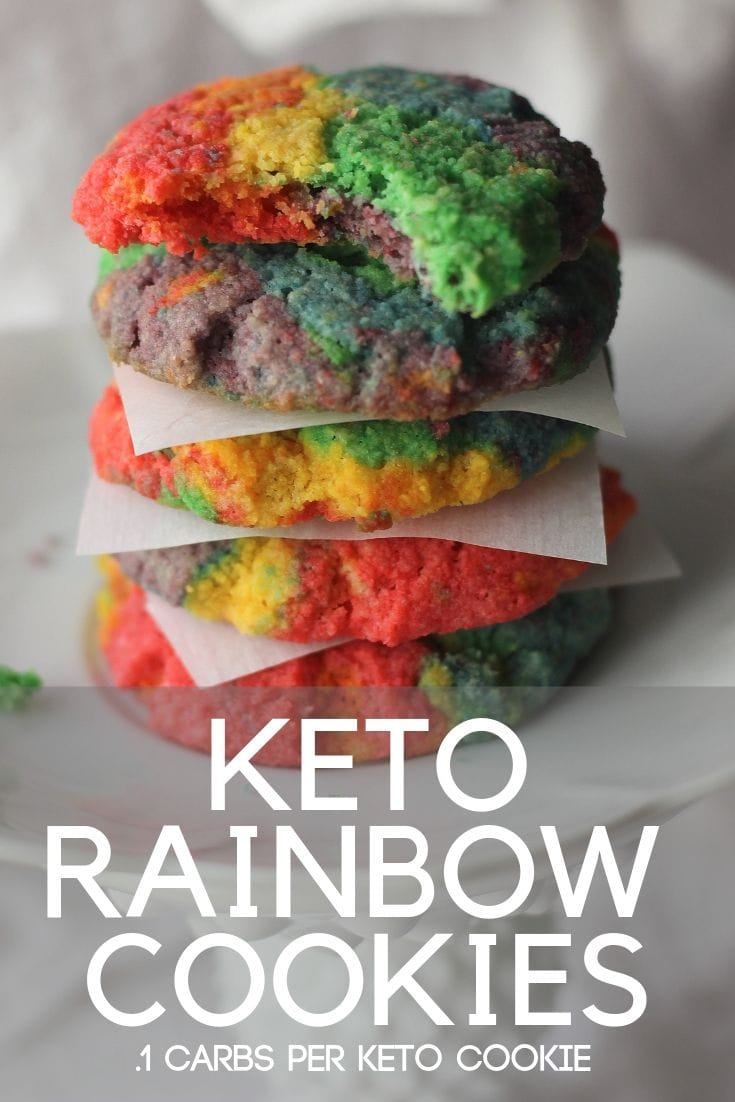 Keto Rainbow Cookies that are not only colorful but only .1 carbs per cookie! Yummy and low carb and made with simple ingredients too!