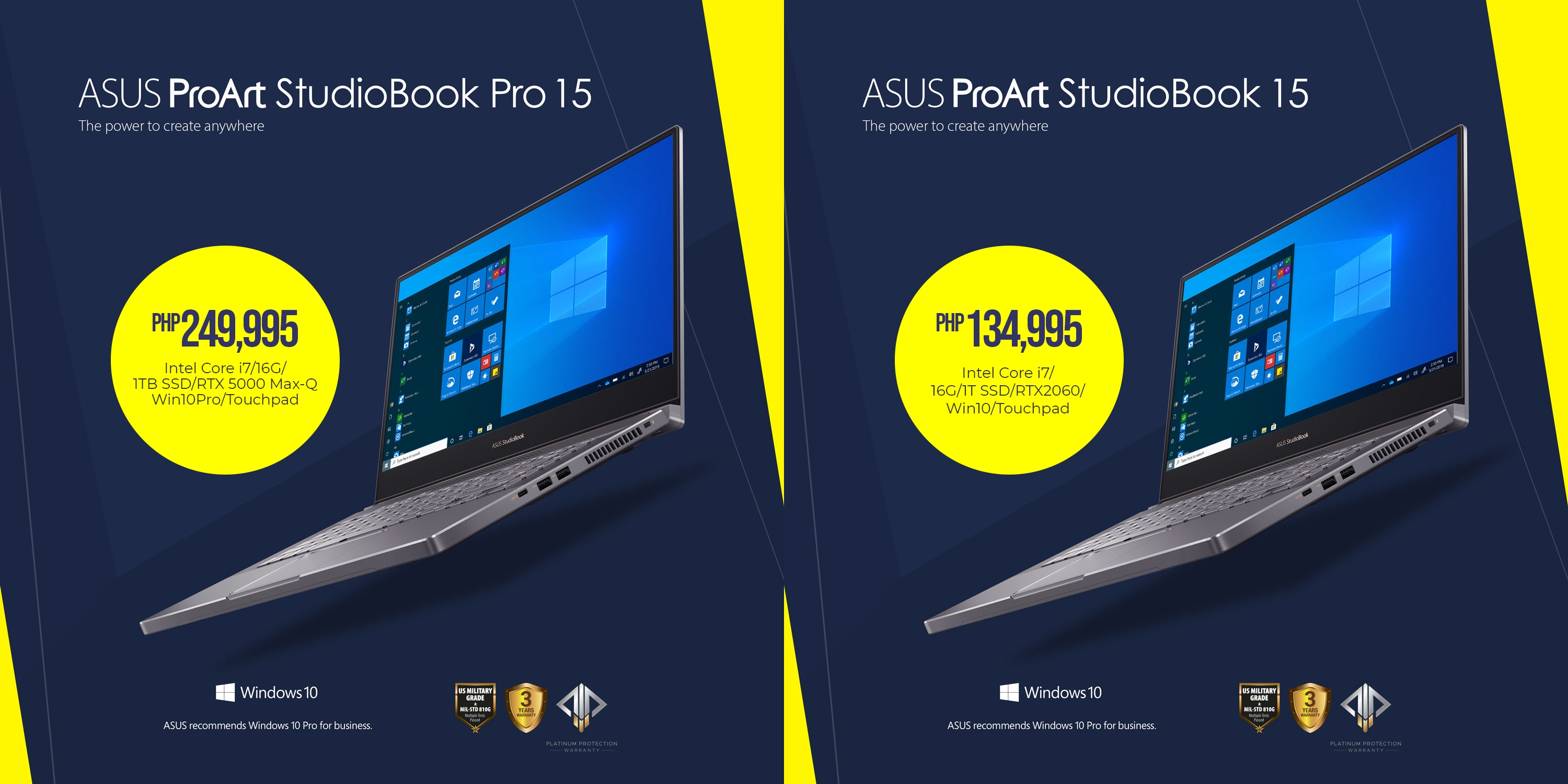 ASUS ProArt StudioBook Pro 15 (W500) - Php 249,995 and StudioBook 15 (H500) - Php 134,995