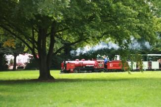 В парке курсирует вот такой паровозик. Катает деток и пускает пар :)