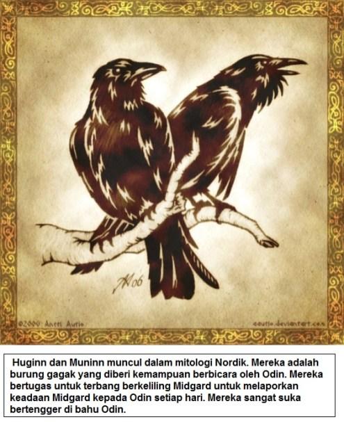 Huginn dan Muninn burung gagak yang pandai bicara dalam mitologi Nordik