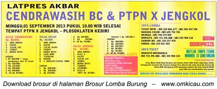 Brosur Latpres Akbar Cendrawasih BC Kediri 1 Sept 2013