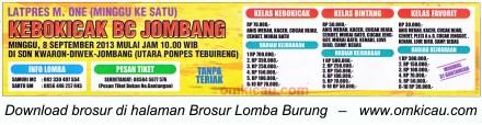Brosur Latpres M One Kebokicak BC Jombang 8 Sept 2013