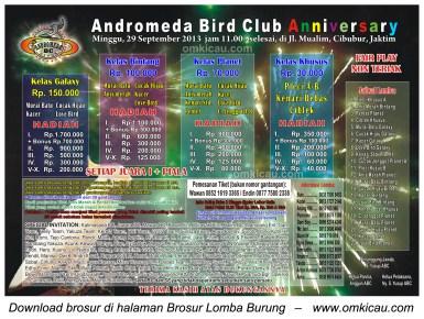 Brosur Lomba Burung Andromeda Anniversary - Jakarta 29 Sept 2013