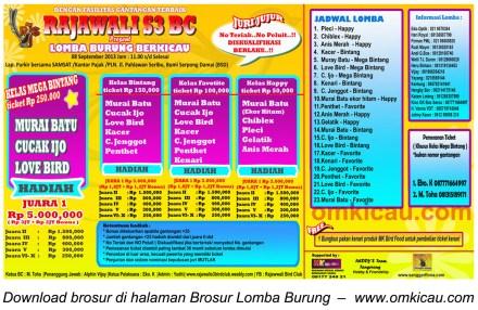 Brosur Lomba Burung Rajawali S3 BC, Serpong, 8 Sept 2013