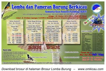 Brosur Lomba Burung Berkicau K2S-P, Palembang, 20 Oktober 2013