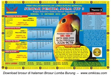 Brosur Lomba Burung Sumpah Pemuda Jogja Cup 3, 13 Oktober 2013