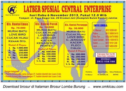 Brosur Latber Spesial Central Enterprise, Jakarta, 6 November 2013