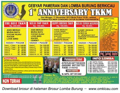Brosur Lomba Burung Berkicau 1st Anniversary TKKM, Jogja, 17 November 2013
