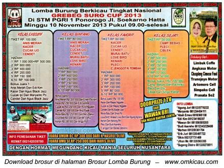 Brosur Lomba Burung Berkicau Grebeg Suro Cup, Ponorogo, 10 November 2013