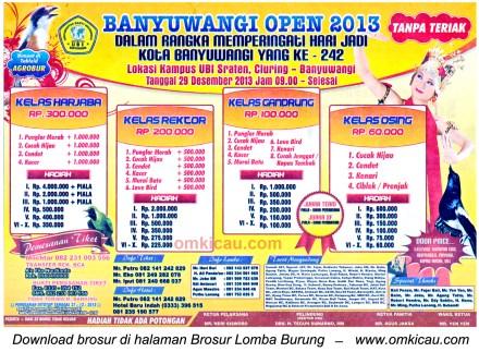Brosur Lomba Burung Berkicau Banyuwangi Open 2013, Banyuwangi, 29 Desember 2013