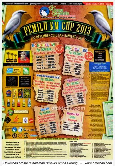 Brosur Lomba Burung Berkicau Pemilu KM Cup, Jakarta, 22 Desember 2013