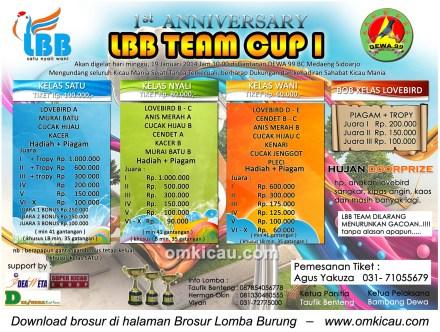 Brosur Lomba Burung Berkicau LBB Team Cup 1, Sidoarjo, 19 Januari 2014