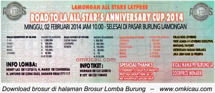 Brosur Latpres Road to All Star's Anniversary Cup, Lamongan, 2 Februari 2014