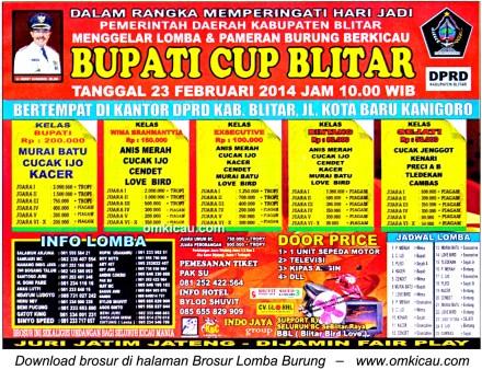 Brosur Lomba Burung Bupati Cup, Blitar, 23 Februari 2014