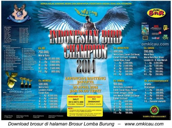 Brosur Lomba Burung Berkicau IBC Cup, Jakarta, 20 April 2014