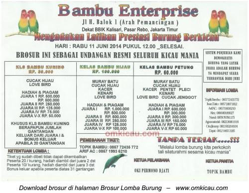 Brosur Latpres Burung Berkicau Bambu Enterprise, Jakarta Timur, 11 Juni 2014