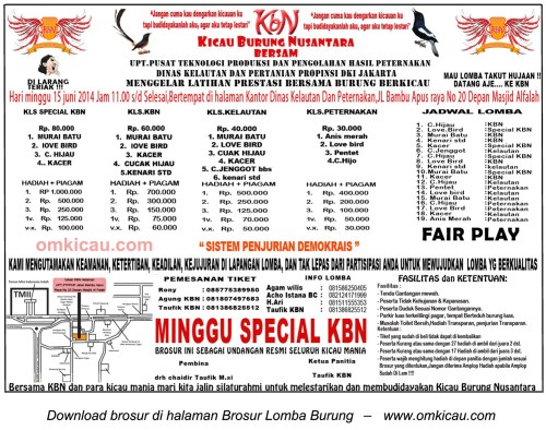 Brosur Latpres Kicau Burung Nusantara (KBN), Jakarta, 15 Juni 2014