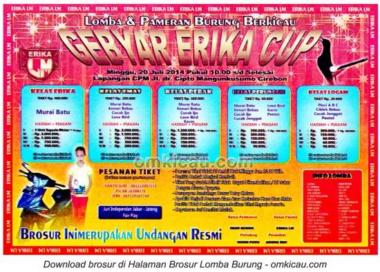 Brosur Lomba Burung Berkicau Gebyar Erika Cup, Cirebon, 20 Juli 2014