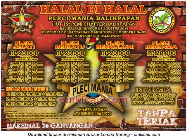 Brosur Lomba Burung Berkicau Halal Bi Halal PCMI Balikpapan, 3 Agustus 2014