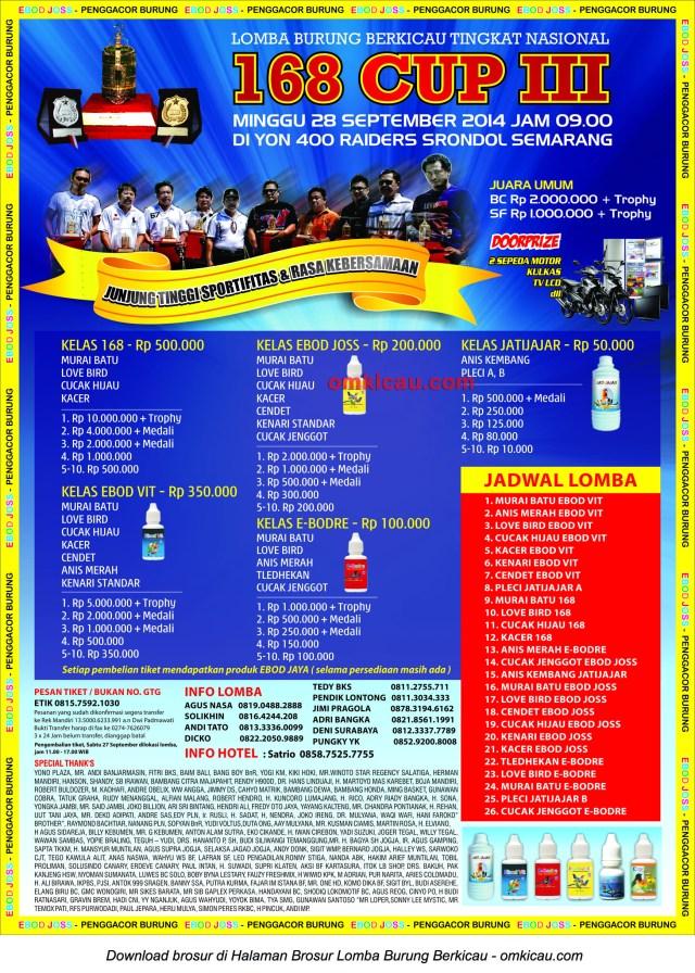 Brosur Lomba Burung Berkicau 168 Cup III, Semarang, 28 September 2014
