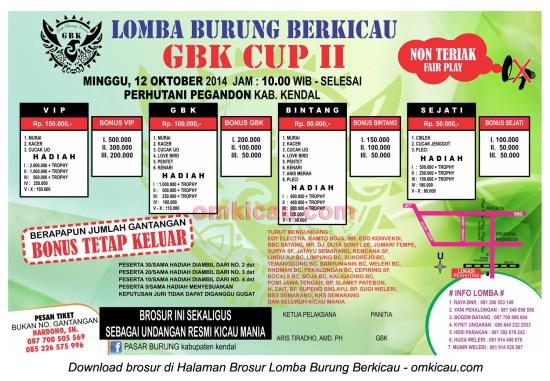 Brosur Lomba Burung Berkicau GBK Cup II, Kendal, 12 Oktober 2014