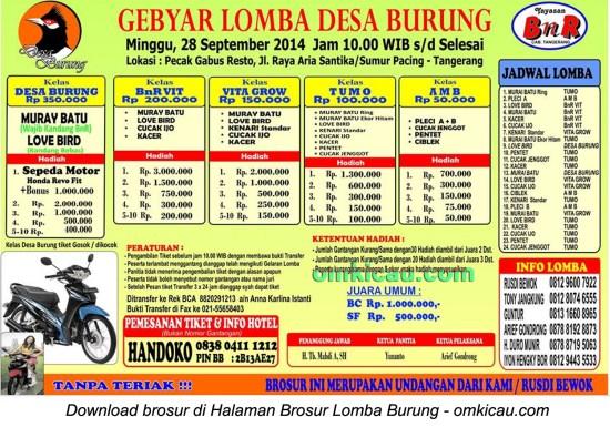 Brosur Gebyar Lomba Desa Burung, Tangerang, 28 September 2014