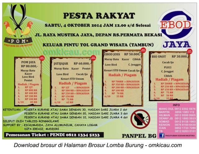 Brosur Lapres Pesta Rakyat POM, Bekasi, 4 Oktober 2014