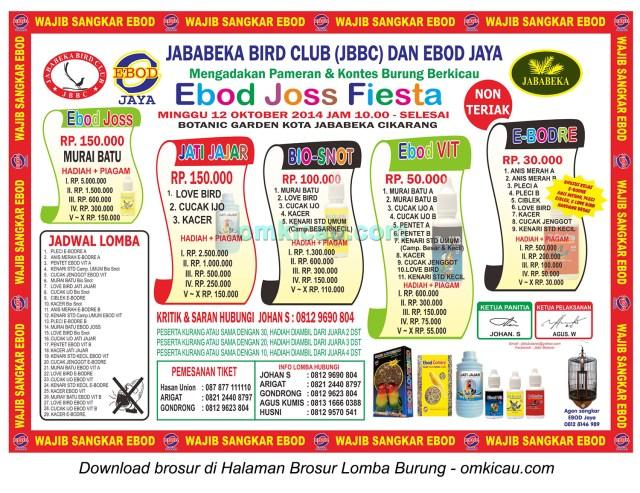 Brosur Lomba Burung Berkicau Ebod Joss Fiesta - JBBC, Bekasi, 12 Oktober 2014