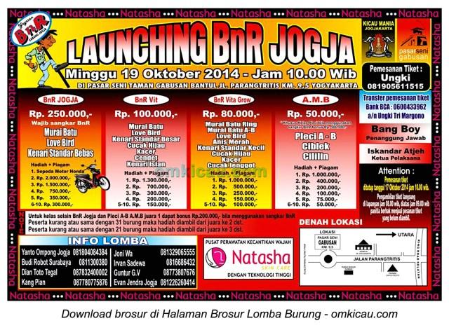 Brosur Lomba Burung Berkicau Launching BnR Jogja, 19 Oktober 2014