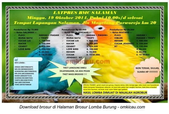 Brosur Latpres Burung Berkicau BMC Salaman, Magelang, 19 Oktober 2014