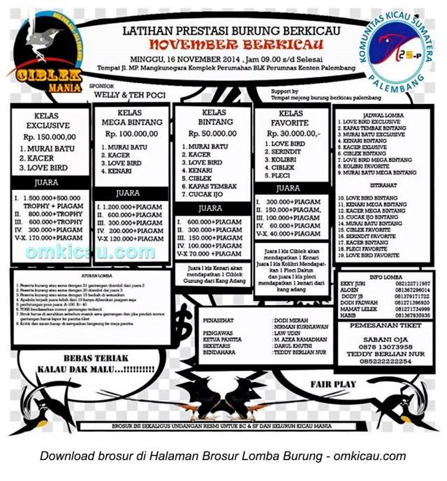 Brosur Latpres November Berkicau, Palembang, 16 November 2014