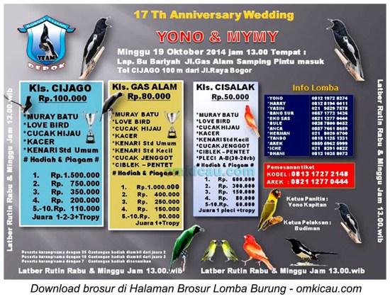 Brosur Lomba Burung 17th Wedding Yono & Mymy, Depok, 19 Oktober 2014