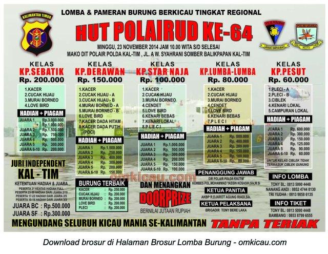 Brosur Lomba Burung Berkicau HUT Ke-64 Polairud, Balikpapan, 23 November 2014