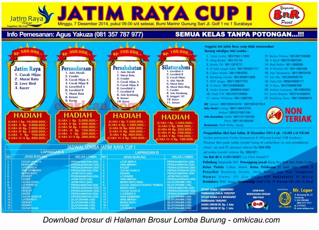 Brosur Lomba Burung Berkicau Jatim Raya Cup I, 7 Desember 2014