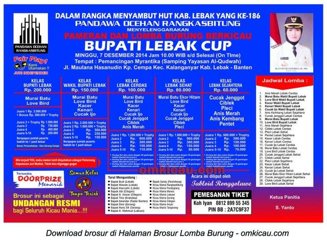 Brosur Lomba Burung Berkicau Bupati Lebak Cup, Lebak-Banten, 7 Desember 2014
